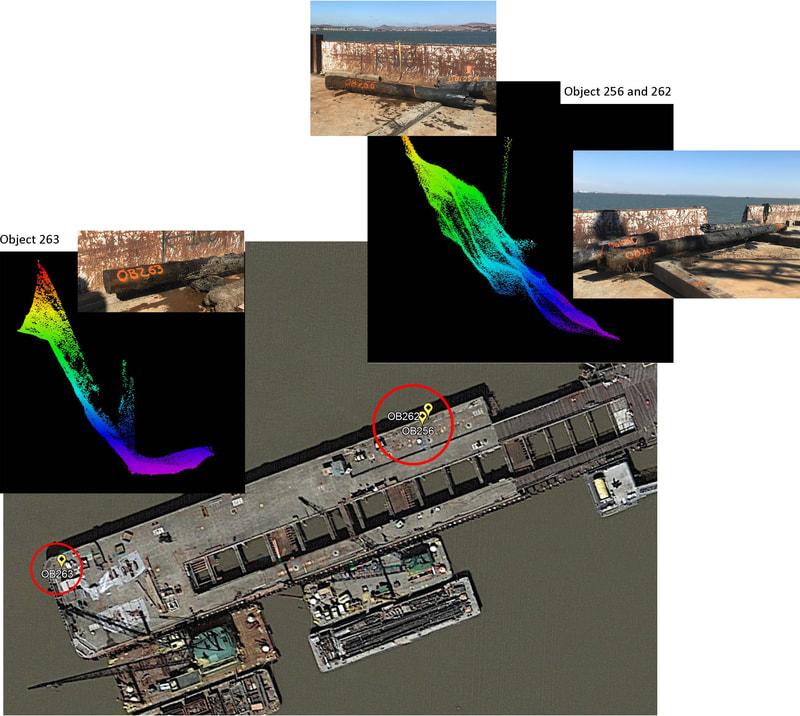 Sonar aided debris recovery image examples.