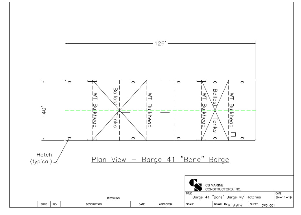 CSM 41 Flat Barge deck plan.