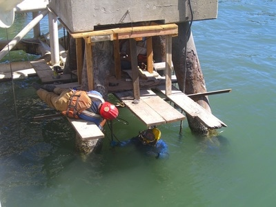 Examples of marine construction concrete services.