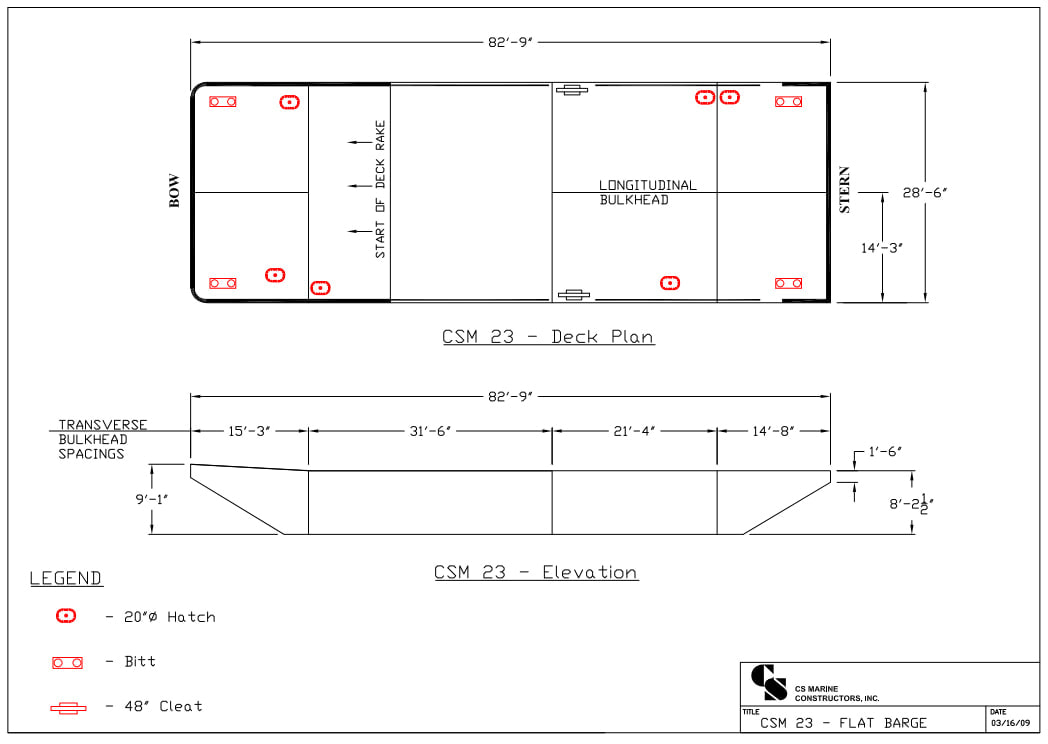 Deck plan for rental of Flat Barges CSM 23