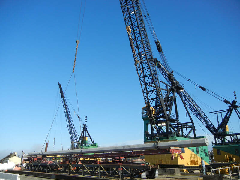 Large beam used in pile driving.