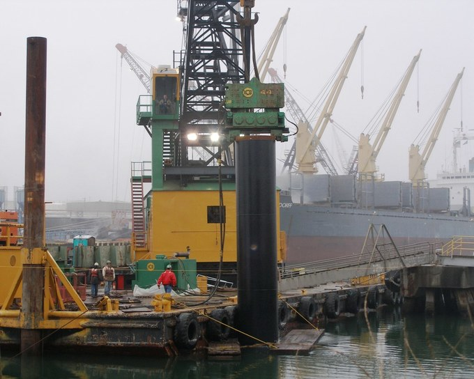 Dockside Crane in fog