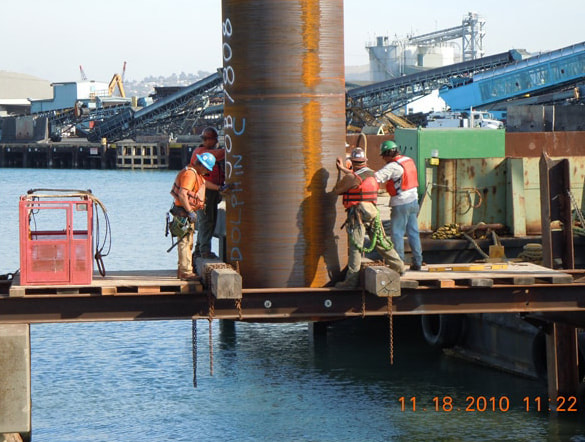 Pile driving alignment.